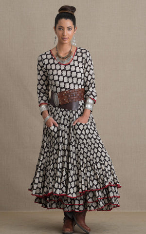 Santa Fe Dress, Long, 3/4 Sleeve, Black & Cream Geometric