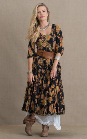 Santa Fe Dress, Long, 3/4 Sleeve, Black Meena Kari