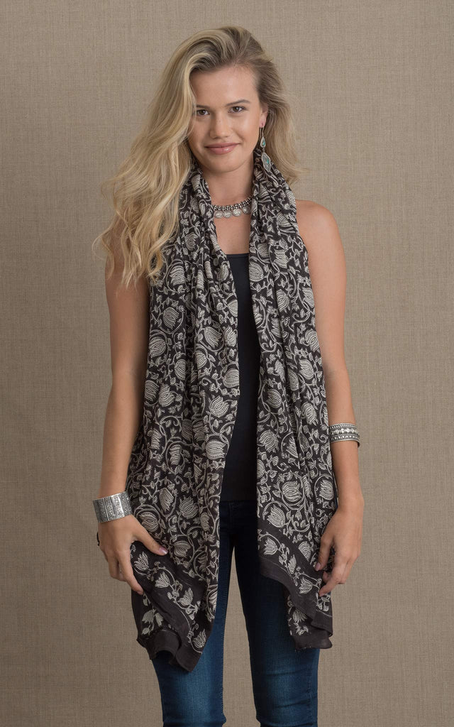 Hand Block Print Sarong/Shawl, Black & Cream Tulip