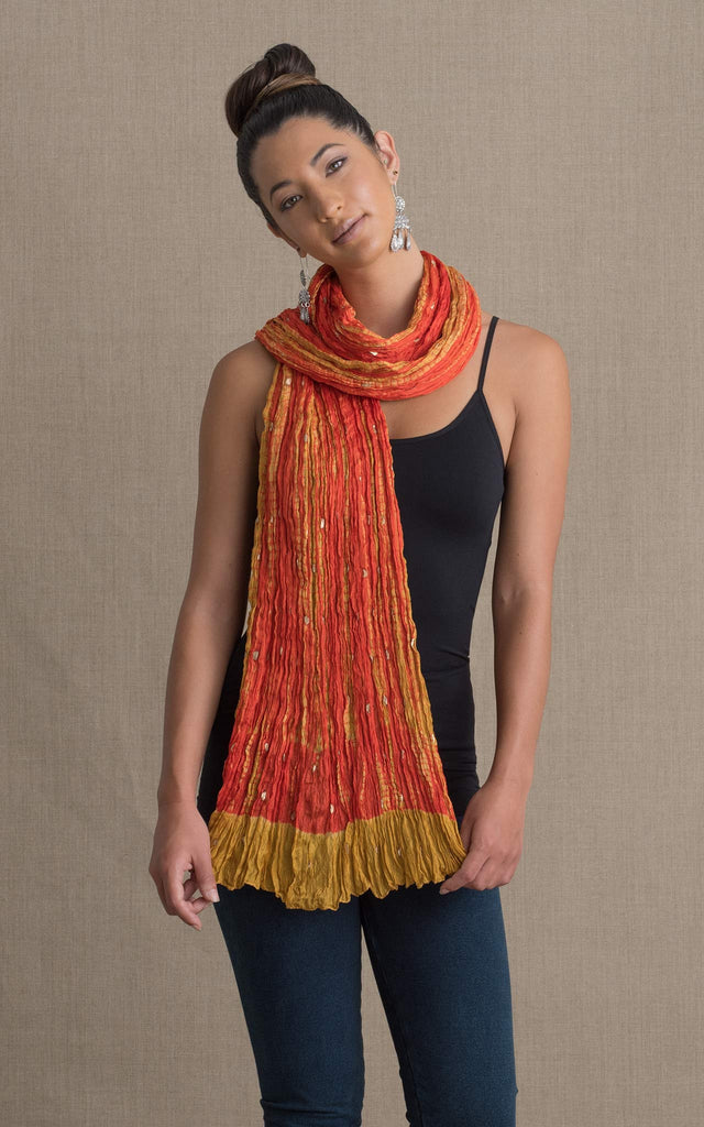 Shibori Scarf, Orange & Gold