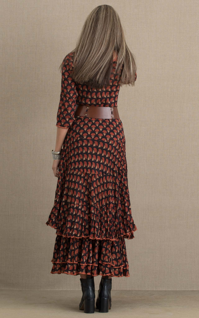Santa Fe Dress, Long, 3/4 Sleeve, Tulipan