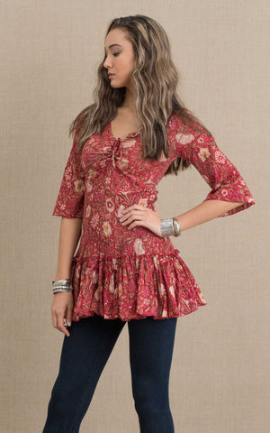 Ximena Tunic, 3/4 Sleeve, Red Sisa