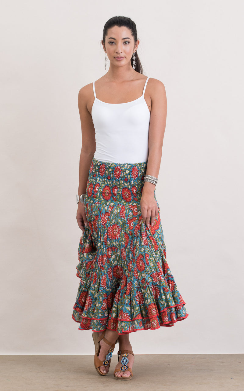Macarena Skirt, Short, Turquoise & Orange Floral