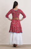 Santa Fe Dress, Short, 3/4 sleeve, Wildflower Red