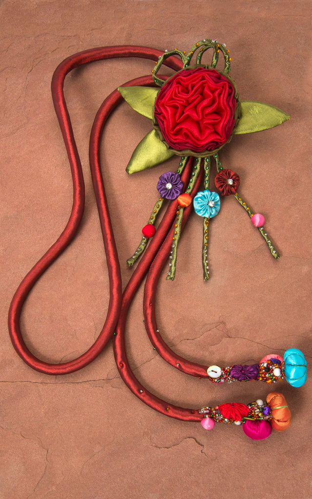Red Cord & Red/Green Rose