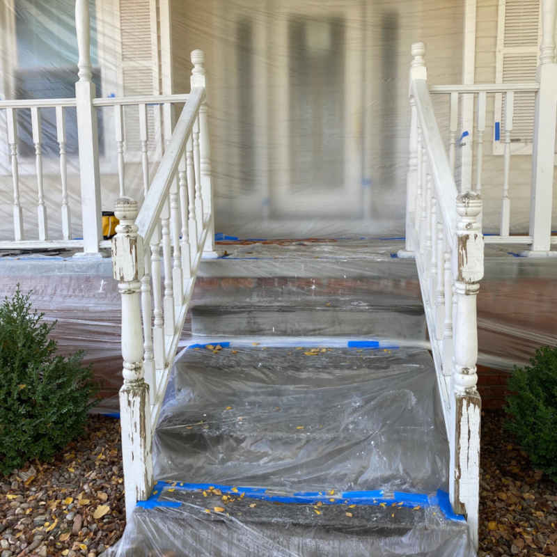 Before - Porch Paint Masking
