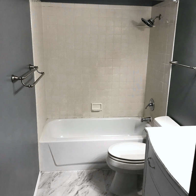After - Faux Marble Bathroom Remodel