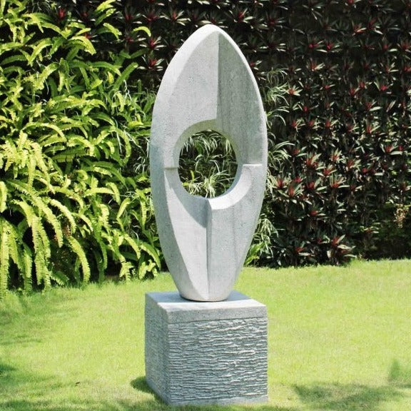 Eclipse Stone Sculpture With Plinth