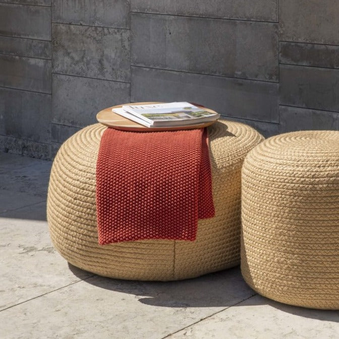 Skyline Design Jute Large Round Outdoor Pouf Stool