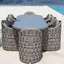 Load image into Gallery viewer, Skyline Design Strips Eight Seat Oval Rattan Garden Dining Set