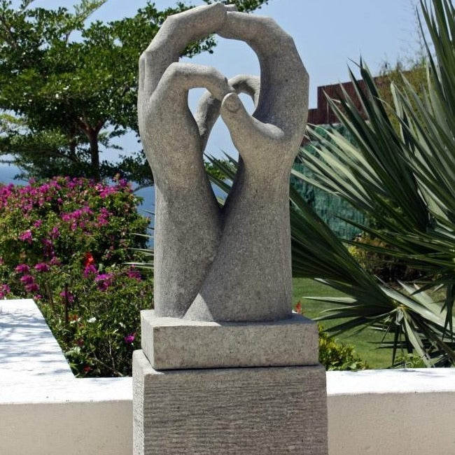Two Hands Together Stone Sculpture With Plinth