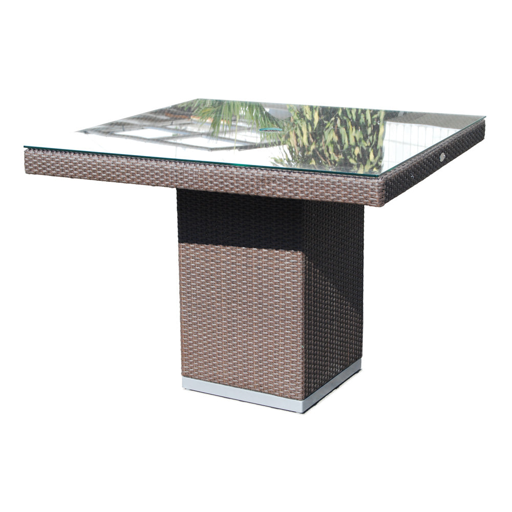 Skyline Design Pacific Rattan Square 80cm x 80cm  Rattan Garden Dining Table with Glass Top