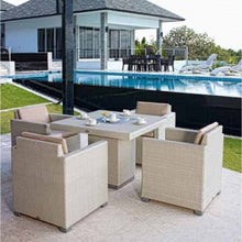 Load image into Gallery viewer, Skyline Design Pacific Rattan Square 80cm x 80cm  Rattan Garden Dining Table with Glass Top