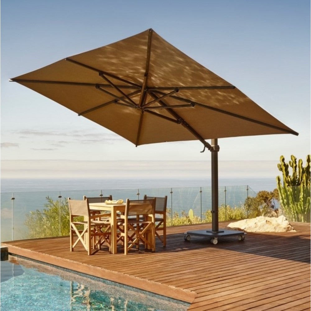 Carectere JCP-402 3m x 4.25m Rectangular Cantilever Parasol with Wheeled Parasol Base