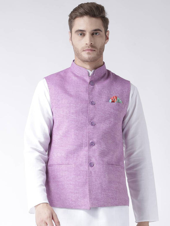 Purple Blended Solid Nehru Jackets