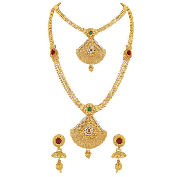 Traditional Cone Shape Jalebi Design Gold Plated Matinee Style Necklace Set