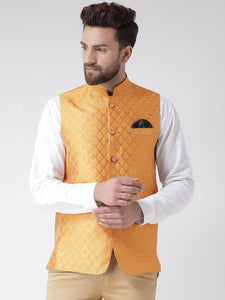 Orange Polyester Blend Printed Nehru Jackets