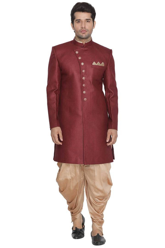 Men's Maroon Cotton Blend Kurta Sets