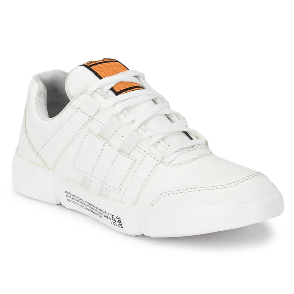 Men's White Synthetic Sports Shoes