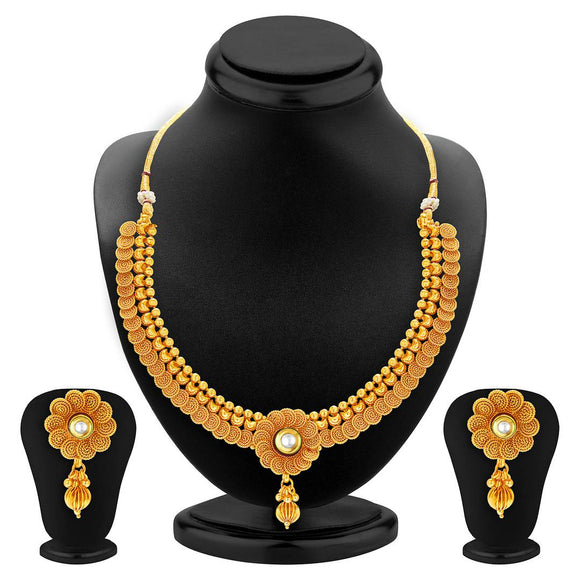 Eye-Catchy Jalebi Design Gold Plated Necklace Set For Women