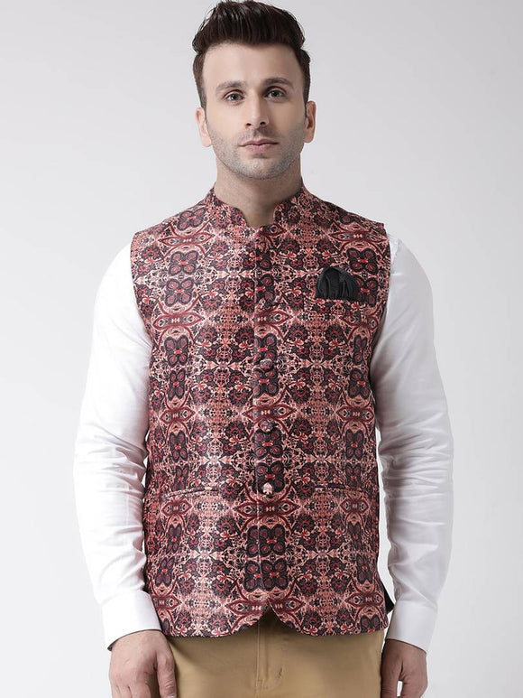 Elite Brown Polyester Viscose Printed Ethnic Waistcoat For Men