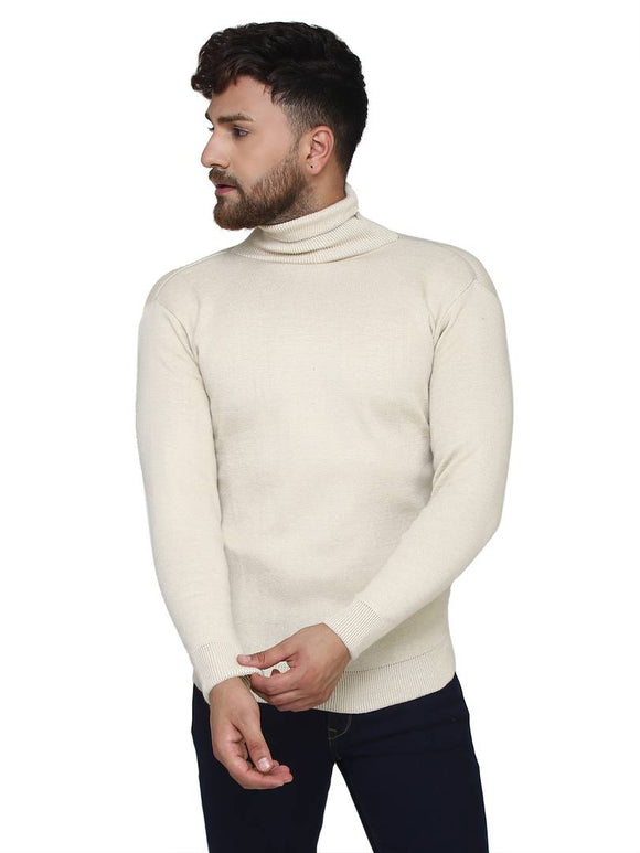 Solid White Synthetic Long Sleeves Turtle Neck  Sweaters