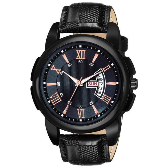 Attractive Black Watch for Men with Synthetic Leather Strap