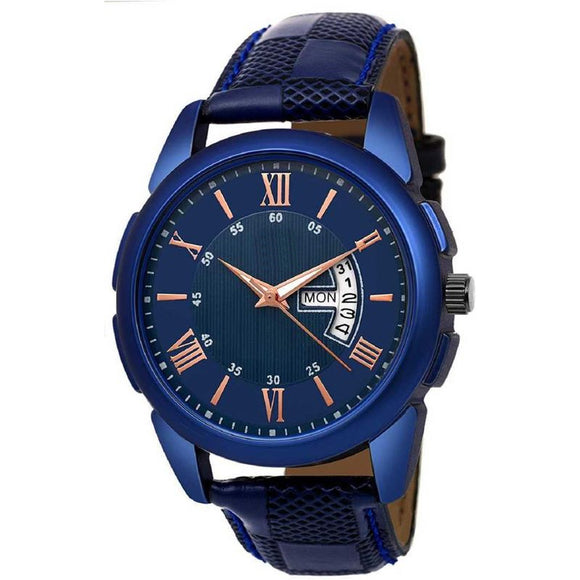 Attractive Blue Watch for Men with Synthetic Leather Strap