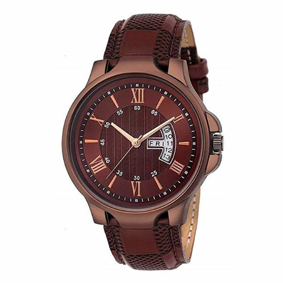 Attractive Watch for Men with Synthetic Leather Strap
