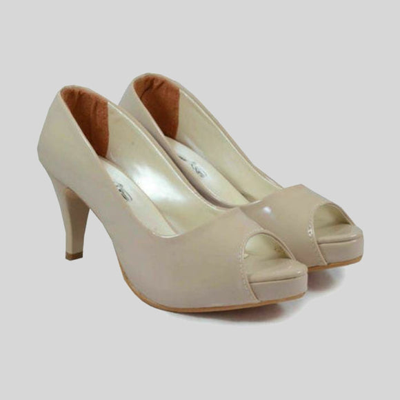 Cream Solid High Heels