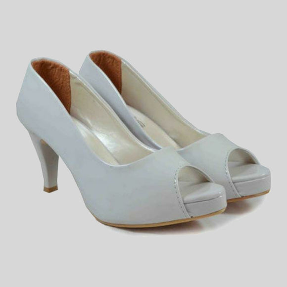 White Solid High Heels