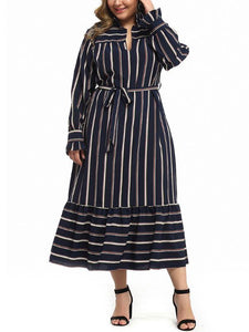 Long-sleeved Belted Stylish Striped Plus Size Dress