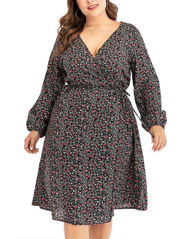 Plus Size V-neck High Elastic Waist Floral Midi Dress