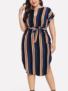 Womens Casual Colorful Stripe Print Plus Size Dress