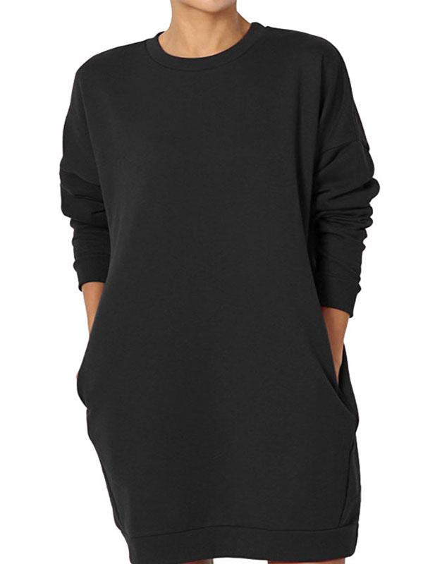 Pullover Round Neck Solid Color Casual Long Pocket Sweatshirt