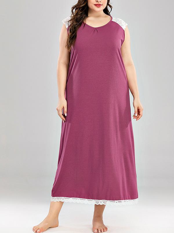 Plus Size Sleeveless Lace Loose Casual Maxi Dress
