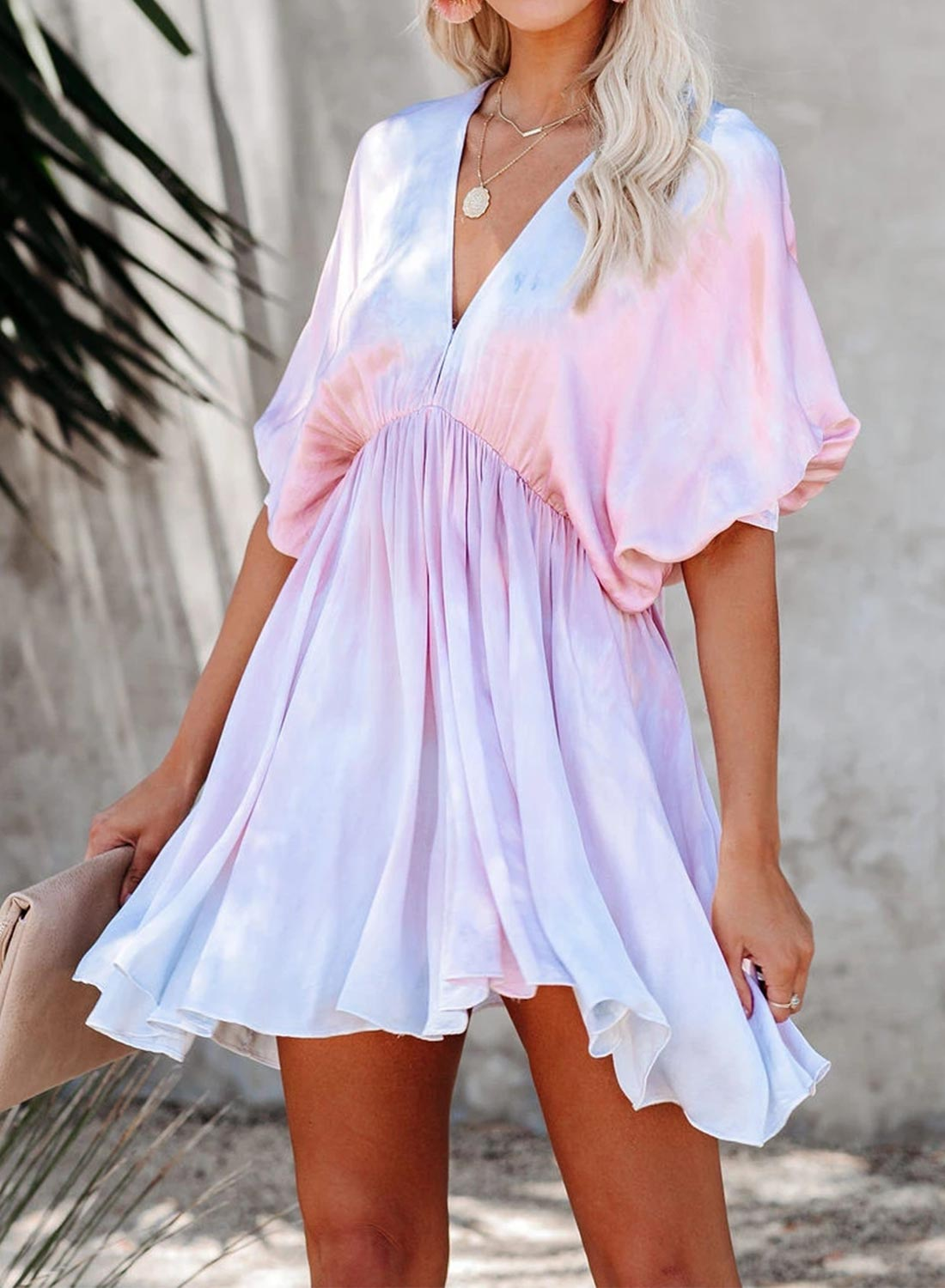 V Neck Tie-dye Mini Dress
