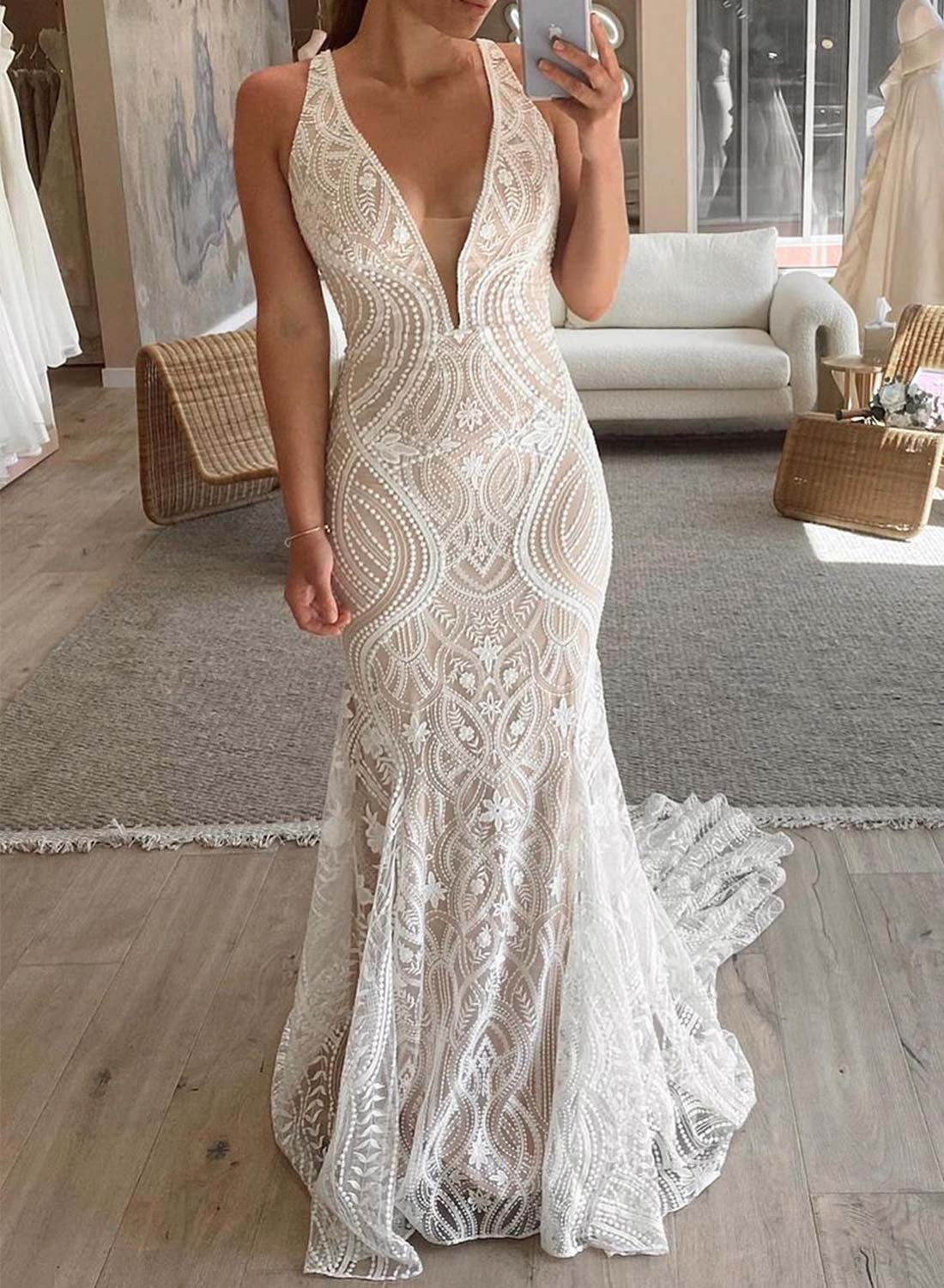 V Neck Sleeveless Fit & Flare Boho Wedding Lace Dress