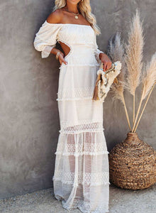 Puff Sleeve Shoulder Open Back Lace Maxi Dress