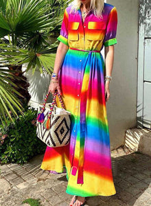 Color Block Short Sleeve Turn Down Collar Boho Maxi Dresses