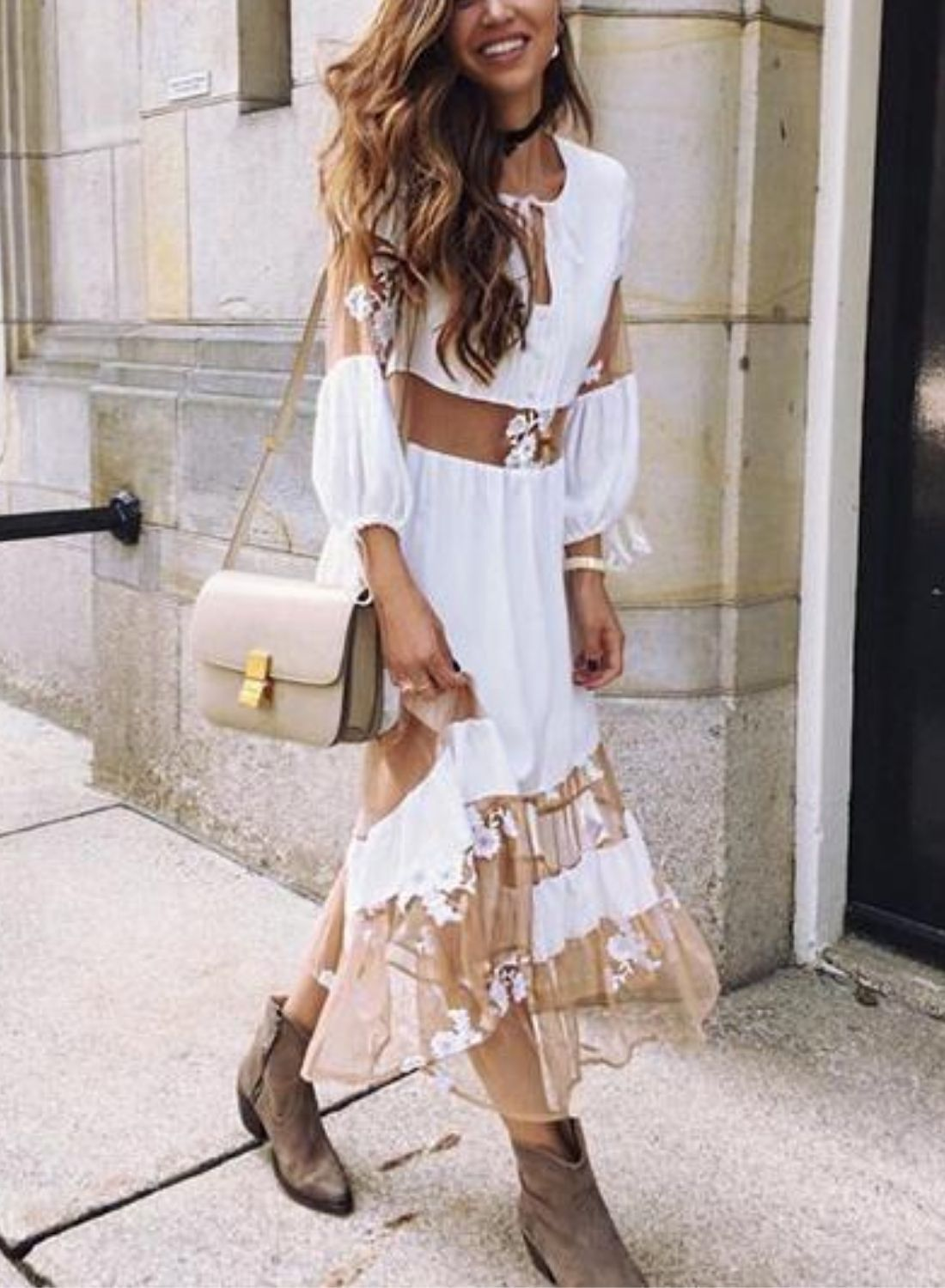 V-neck Sheer Mesh Long Sleeve Maxi Dress