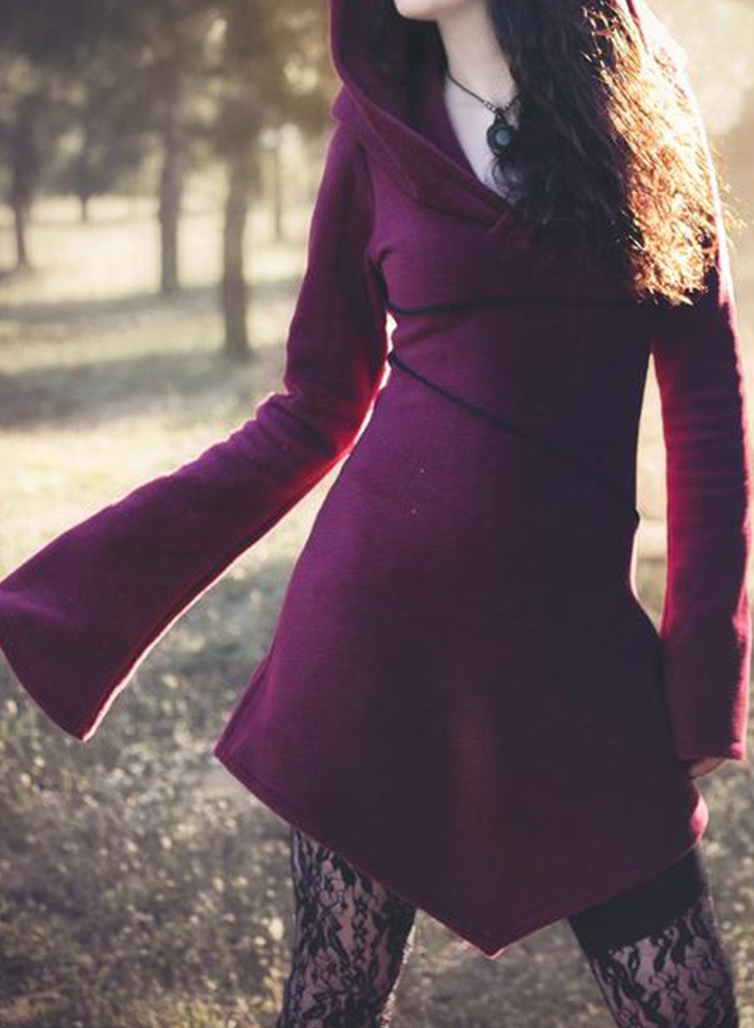 Multicolor Vintage Hoodie Long Sleeve Dress