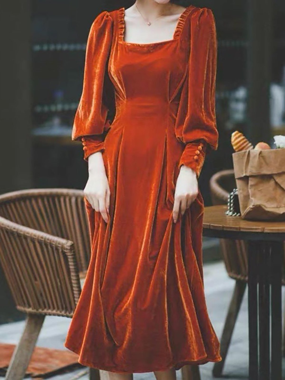 Casual Square Neck Women Velvet Midi Dresses