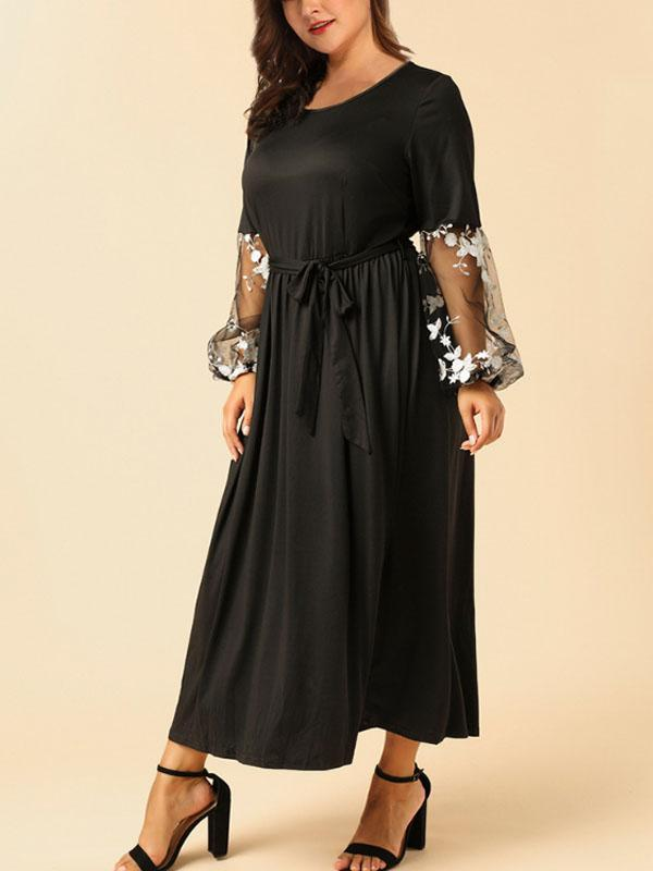 Plus-size Embroidered Lace Round Neck Long Sleeves Dress