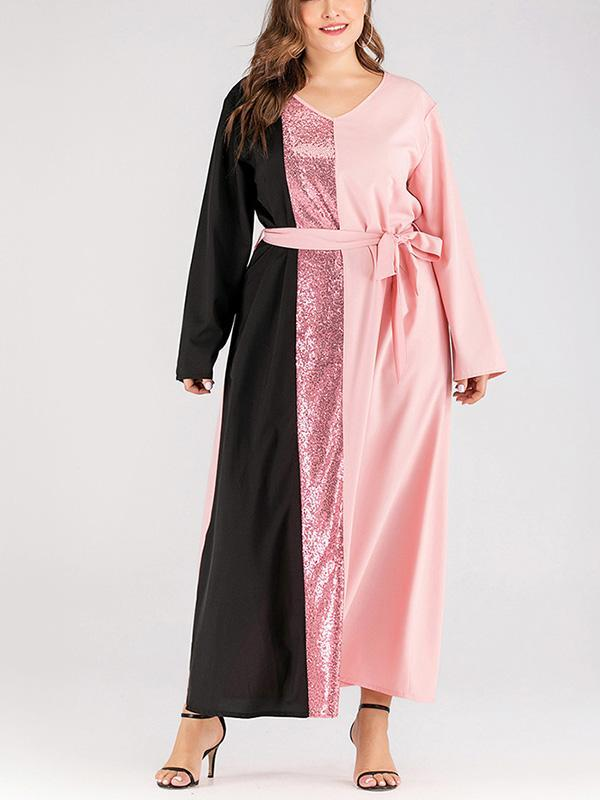 Plus Size Patchwork Belt Long Sleeve Maxi Dress