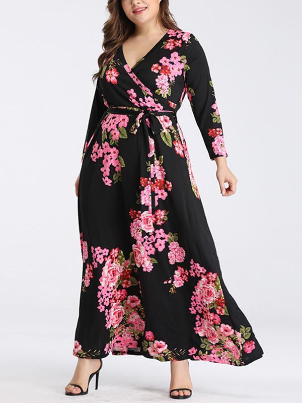 MyLadyplus Plus Size V-neck Print Long Sleeve Maxi Dress