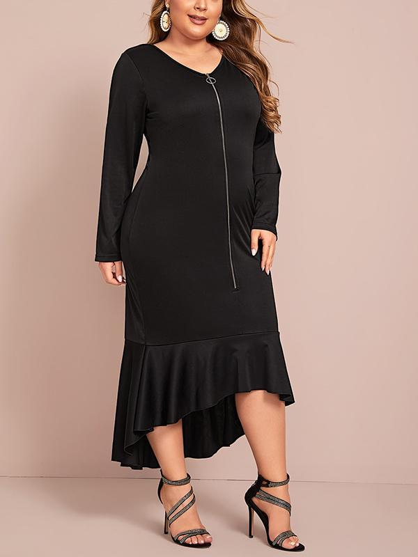 Plus Size Long Sleeve Sexy Bodycon Dress