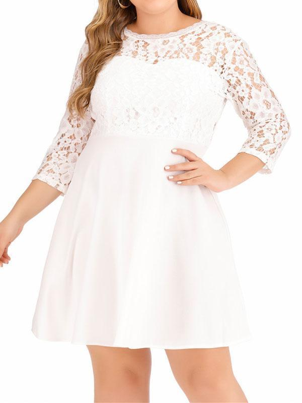 Solid Color Lace Stitching Dress