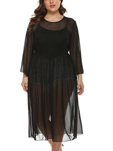 Plus Size Black Mesh Round Neck Long Sleeves Dress