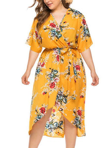 Oversize V-neck Belt Print Beach Dress